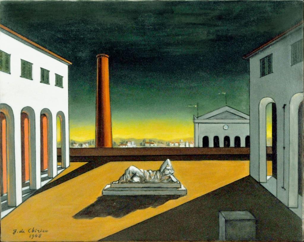 arte_De Chirico 06 Piazza d'Italia 1948-1972 cm.39,5X50 bra