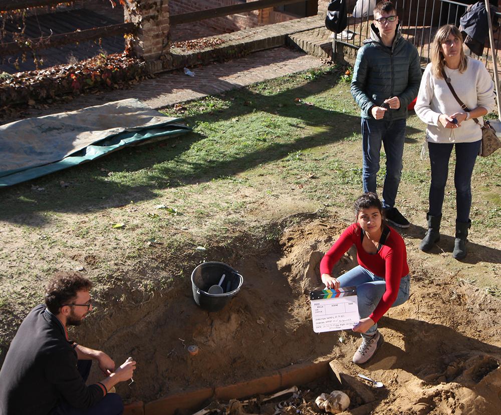 riprese ricostruzione tomba Dama di Pollenzo